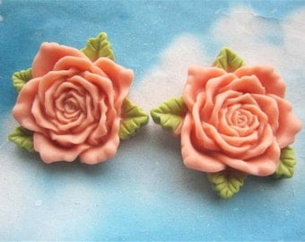 Large--2pc 45mm dark pink resin  flower cabochon/cameo charms--rose flower with green leaves