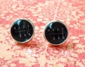 20% OFF -- Black and white Gear Stick stud eraaings ,post earrings,Perfect Gift Idea (Black)