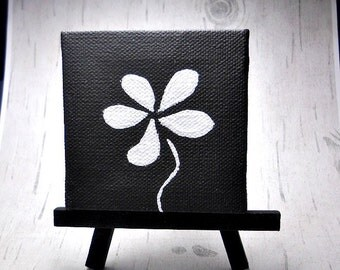 White Flower Painting, 3x3 Canvas Art