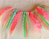 Tutu for children - 4 to 5 year old tutu - Birthday party tutu - Shabby Chic tutu - Scrappy tutu - Polka dots - Chevron - Pink mint tutu