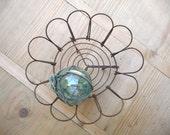Vintage French Bowl Basket, Soap Dish, Hand Made Wire Work Wirework, Farmhouse Basket Vintage Easter Egg Basket