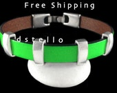 FREE SHIPPING - Neon jewelry, Unisex leather bracelet, Summer bracelet, Fluorescent, Neon green, fuchsia, Womens gift idea, Spanish leather