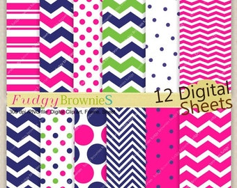 "ON SALE digital download paper background 12""x12"",chevron digital paper,No.165/2 printable background,hot pink blue polka dots,instant downl"