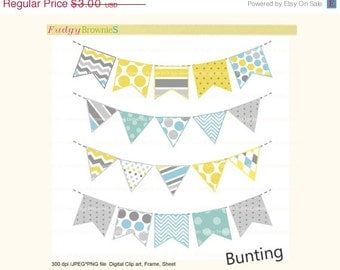 ON SALE bunting clip art, birthday clip art,Digital bunting,flag banners scrapbooking bunting,Flags banner,yellow,blue,gray,Instant Download
