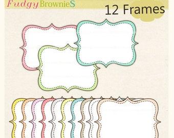 ON SALE Digital frame, square frames , soft colour frame, digital scrapbooking frames ,  yellow , white, lilac A-62 Instant download Frame