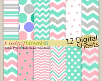 "ON SALE Digital paper background 12""x12"" , printable digital paper ,No.240/2 printable background, polkadots, pink & teal, grey, chevron"