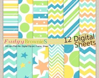 "ON SALE Digital paper background 8.5x12"" , printable digital paper ,No.249, blue, orange, yellow, baby boy color paper pack"