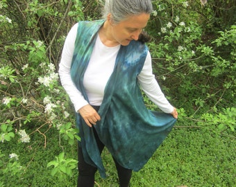 Hand Dyed Vest in Blue and Green, Waterfall Front, Size Medium