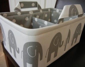 "LG Long Diaper Caddy 8"" x 12"" x 6""(choose Lining COLOR)""One Divider -Baby Gift-Fabric Storage Organizer-Elephant-""Grey Ele on White"""