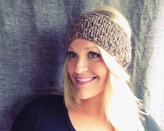 Chunky knit headband in taupe wool blend / Birthday Gift / Wear All Year / Bad Hair Day / Accessories For Women