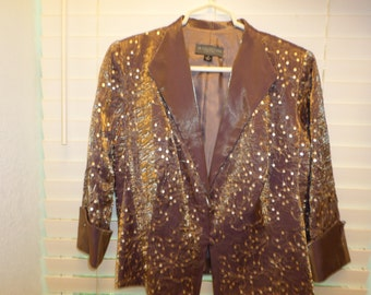 Vintage 90s Light Jacket Sz 8  Sequins Brown Bronze Tailored Lined 3/4 Sleeves NWT Deadstock Dressy