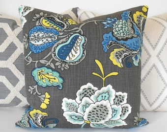 Blue and gray floral decorative pillow cover