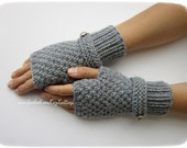 grey arm warmers with strap and silver button knit mittens fingerless gloves winter christmas gift wool wrist warmers merino mittens