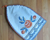 Linen Hand Embroidered Cross Stitch Cover.