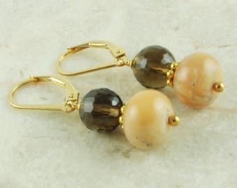 Opal Jewelry Dangle Earrings Smoky Quartz Peruvian Opal Earrings 14kt Gold Filled Lever Back Gemstone Earrings Natural Opal Jewelry