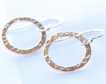 Gold Circle Earrings Dangle Earrings 14kt Gold Filled Simple Hammered Circle Jewelry Small Gold Earrings Gold Drop Earrings Jewelry