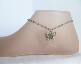 Bronze Butterfly Anklet, Garden, Rustic Butterfly, Butterfly Anklet, Schmetterling, Monarch, Capistrano, Dog and Butterfly, Butterfly Kisses