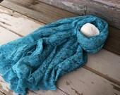 Teal Lace Tablecloth - Vintage Oblong Blue Green Decorative Linen, Wedding Decor, Vibrant Blue Lace Table Linens, Retro Home or Party Decor