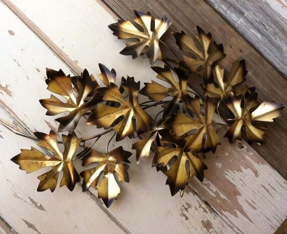 Mid Century Modern Burnished Gold Leaf Wall Art Vintage