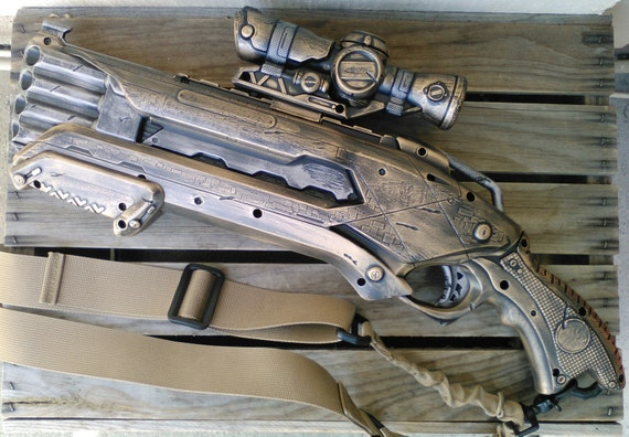 Image is loading Cosplay-custom-painted-weapon-blaster-Steam-Punk-Star-