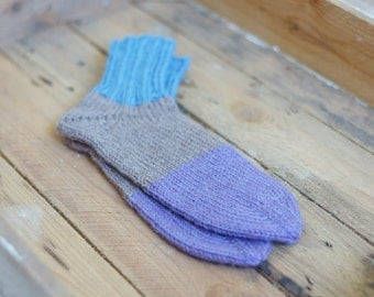 Hand Knit Wool Socks women for her green urban stripe - made to order