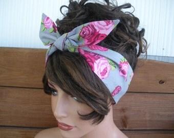 Women's Headband Dolly Bow Pin Up Retro  Fashion Accessories Women Hair Wrap Tie Up Headband Gray polka dot, Pink roses print