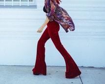 High waist velvet flares bell bottoms hippy pants