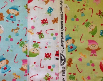 Riley blake santas work shop collection elves design in blue, white or green byvthe half metre