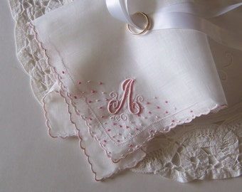 Bride's Handkerchief Monogrammed A Something Old Wedding Shower Gift with Blush Pink Initial for Bride or Bridesmaid Gift, Vintage Hanky
