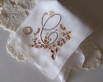Bride's Wedding Hanky Monogrammed C Vintage Handkerchief Something Old Wedding Shower Gift