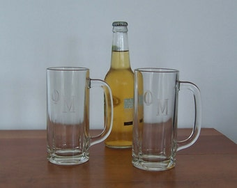 Sorority Beer Steins - Set of Two, Collegiate Vintage Bar Glasses, Phi Mu, Eclectic Barware Frat House