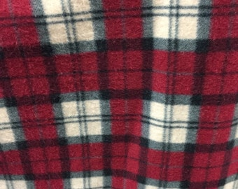 Plaid Print Polar Fleece Fabric by the yard