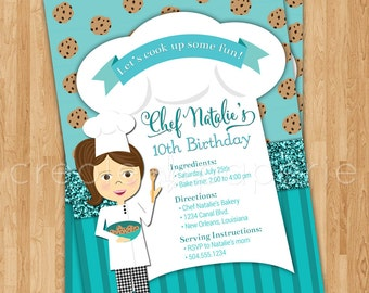 Chef Digital Birthday Invitation with customizable character