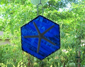 Stained Glass Authentic Starfish Six-Sided Panel with Twisted Wire Handcrafted Hanger,Cobalt Blue Wispy Translucent Glass