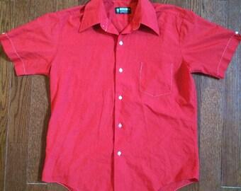 Vintage 1960s shirt, men's button up shirt, short sleeve shirt, greaser shirt, red shirt, medium mens shirt, cromwell court, 15.5
