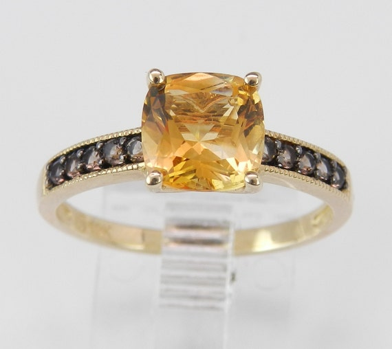 Yellow Gold Cushion Cut Citrine Smokey Topaz Promise Engagement Ring Size 7.25