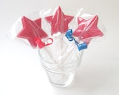 12 Star Lollipops, Chocolate lollipops, party favors, chocolate party favors, 4th of July, Patriotic party decor, red white blue, candy star