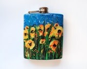 Painted Sunflowers Yellow Flowers Abstract Liquor Flask Black Eyed Susan Resin Acrylic Girlfriend Birthday Graduation Gift Stainless Steel