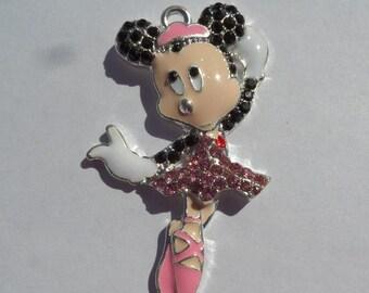 50mm*26mm Ballerina Minnie Mouse Inspired Pink Rhinestone Pendant, P26
