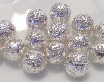 6mm. 100CT, Bright Silver Filigree Hollow Spacer Beads. Seed Bead, Bead, Findings, S27