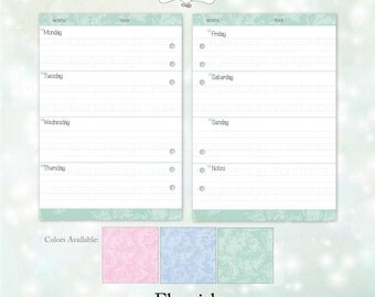 Printable Large kikki.K Weekly Inserts -Flourish-Pink, Blue & Light Green Versions Included in this Listing!