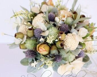 Rustic wedding bouquet, cottage garden bouquet thistle, sola flowers, wildflowers, gumnuts and Australian native foliage Bride Bouquet