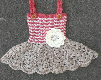FREE SHIPPING-Crochet Baby Girl Spring/Summer Dress - Daisy Button Straps - Flower Accent With Faux Pearl Center - In Size: 0/3mo-Photo Prop