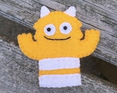 Bright Yellow Two Eyed Monster Finger Puppet