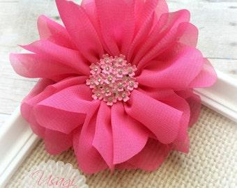 Hot Pink Chiffon Flower Hair Clip, Chiffon Flower, Hot Pink Rosette, Summer Hair Clip, Toddler Hair Clip, Infant Girl Photography Prop