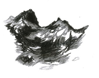 Dark black mountains landscape drawing - They loom and tumble like the water - Original illustration 9x12 (9.4x12.6)