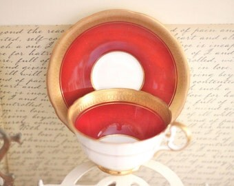 Deep Red Burgundy and Gold Teacup Set - Aynsley Made in England Fine Bone China