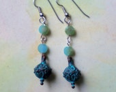 Verdigris Earrings with Aqua Gemstones