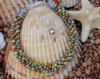 Earthtone Drop Seed Bead Kumihimo Bracelet