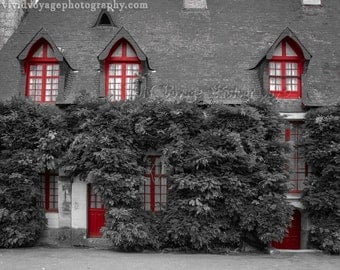 Cottage Photograph, Wall Of Ivy, Window Photo, Black And White With Red, Architecture Print, Country French Decor, Wall Art, Fine Art Print